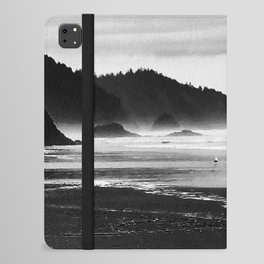 Black and White Seascape At Hug Point iPad Folio Case