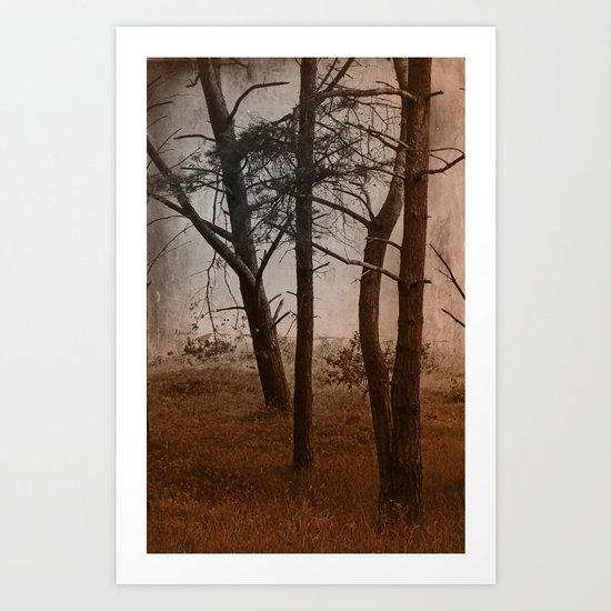 Forest in the dark autumn Art Print