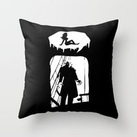 randy c Throw Pillows featuring Randy Vampire by Because Skulls