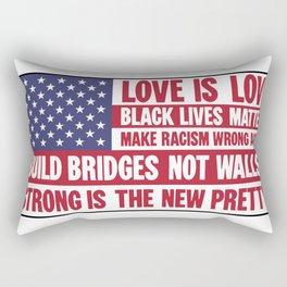 US flag with liberal slogans Rectangular Pillow