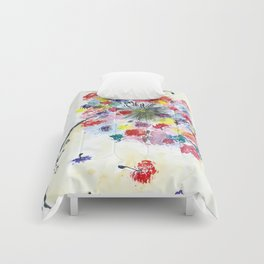 Dandelion watercolor illustration, rainbow colors, summer, free, painting Comforters