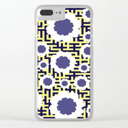 Floral maze in yellow and blue Clear iPhone Case