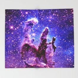 Galaxy Nebula : Pillars of Creation Purple Blue Throw Blanket
