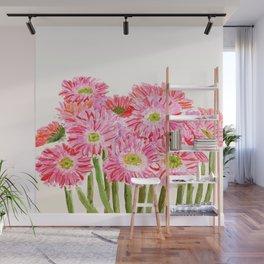 Pink Gerbera Daisy watercolor Wall Mural