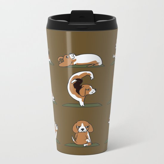Beagle Yoga Metal Travel Mug