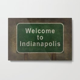 Welcome to Indianapolis roadside sign illustration Metal Print
