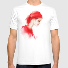 lady in  red MEDIUM White Mens Fitted Tee