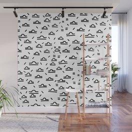 Libra Symbol Pattern Simple Black and White Drawn Wall Mural