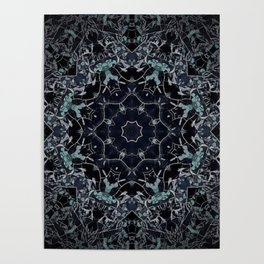 Dark Mandala Snow Flake Poster
