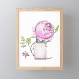 Fragrance bottle with rose flower Framed Mini Art Print