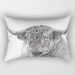 Hippie the Longhorn - Pencil Drawing Rectangular Pillow