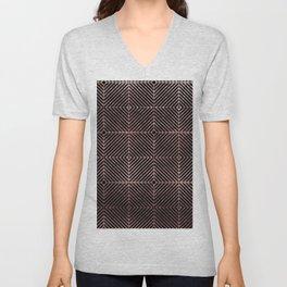 Abstract black rose pink geometrical diamond pattern Unisex V-Neck