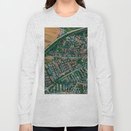 Farm vs City Aerial (Color) Long Sleeve T-shirt