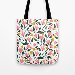 Pink Floral Pattern Tote Bag