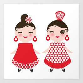 Spanish Woman flamenco dancer. Kawaii cute face with pink cheeks and winking eyes. Gipsy girl Art Print