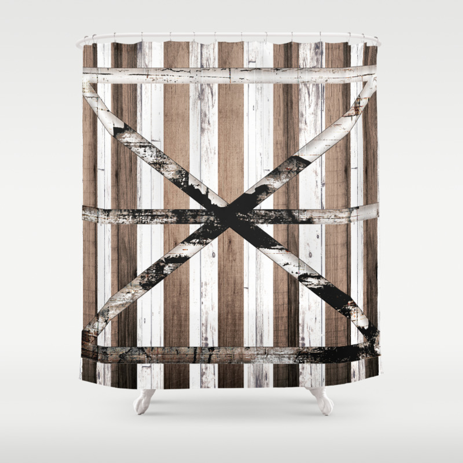Rustic Multi Wood Barn Door Shower Curtain