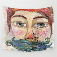 mustache Wall Tapestries featuring Sea Mustache by Varvara Repnikova