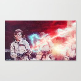 Egon Battling Gozer With The Ghostbusters Canvas Print