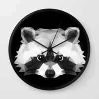raccoon Wall Clocks featuring Raccoon by Taranta Babu