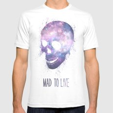 Mad To Live MEDIUM Mens Fitted Tee White
