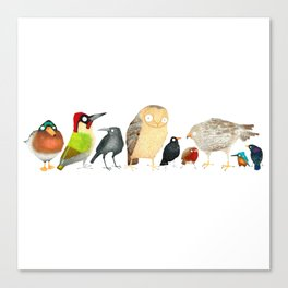 Woodland Bird Collection in white Canvas Print