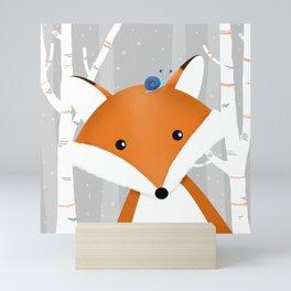 Fox and snail Mini Art Print