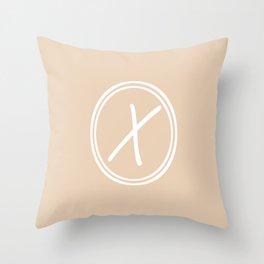 Monogram - Letter X on Pastel Brown Background Throw Pillow
