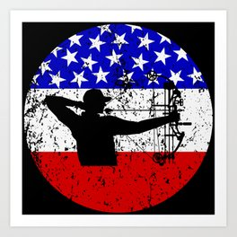 American Flag Bow Hunting Art Print