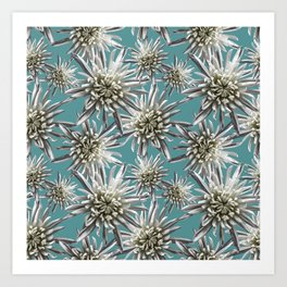 Mum Floral Pattern - Mum's the word - Auqa and White Floral Design - White Mum Flowers - I Love my M Art Print