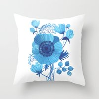 oana befort Throw Pillows featuring BLUES by Oana Befort