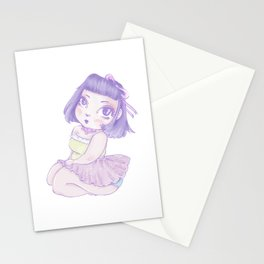 Pastel Girl purple and white Stationery Cards