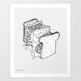 Exploded Grilled Cheese Sandwich (Gray) Art Print