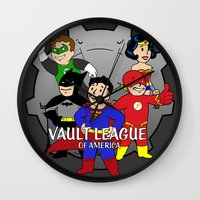 league Wall Clocks featuring Vault League by jcdope