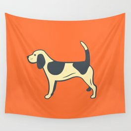Orange Beagle Wall Tapestry