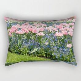 Foxtrot tulips blooming in garden Rectangular Pillow