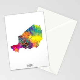 Niger Watercolor Map Stationery Cards