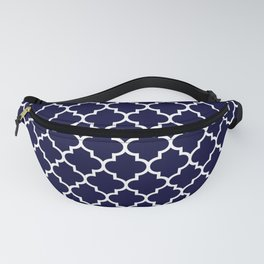 White Moroccan Quatrefoil On Navy Blue Fanny Pack