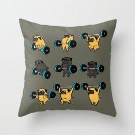 OLYMPIC LIFTING PUG Throw Pillow