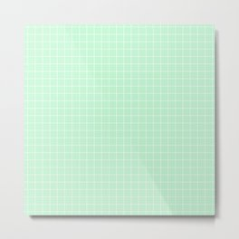 Mint Green with White Grid Metal Print