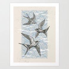 Free Bird (Three Swallows) Art Print