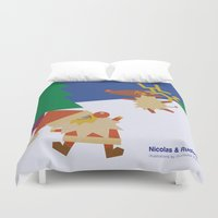 nicolas cage Duvet Covers featuring Nicolas&Rudolph by shunsuke art