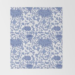 Chinoiserie Vines in Delft Blue + White Throw Blanket