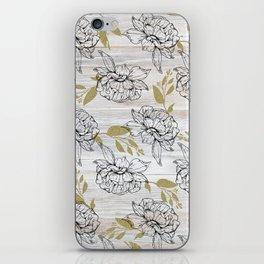 Rustic white wood black elegant faux gold floral iPhone Skin