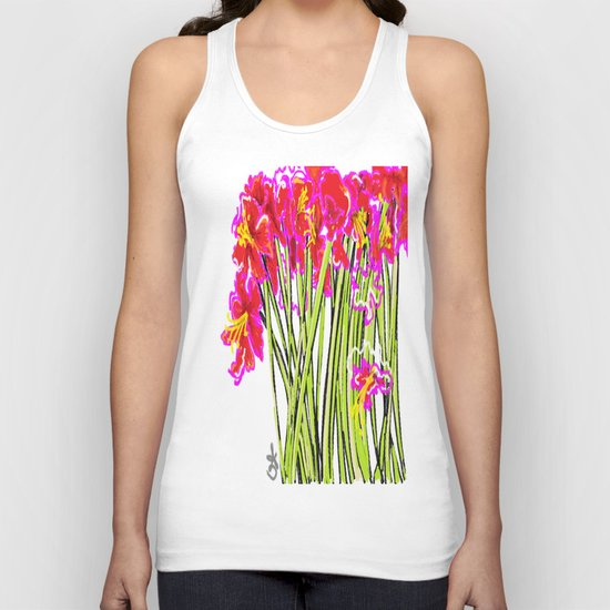 Red Flowers again, Hybiscus Unisex Tank Top