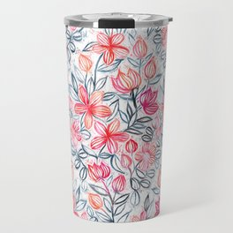 Coral and Grey Candy Striped Crayon Floral Travel Mug