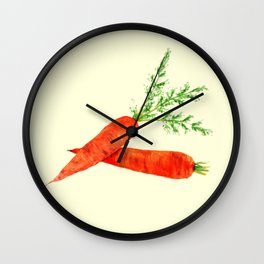 orange carrot watercolor painting Wall Clock