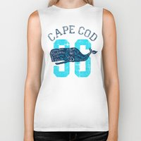 cape cod Biker Tanks featuring Cape Cod Whale by Rob Howell