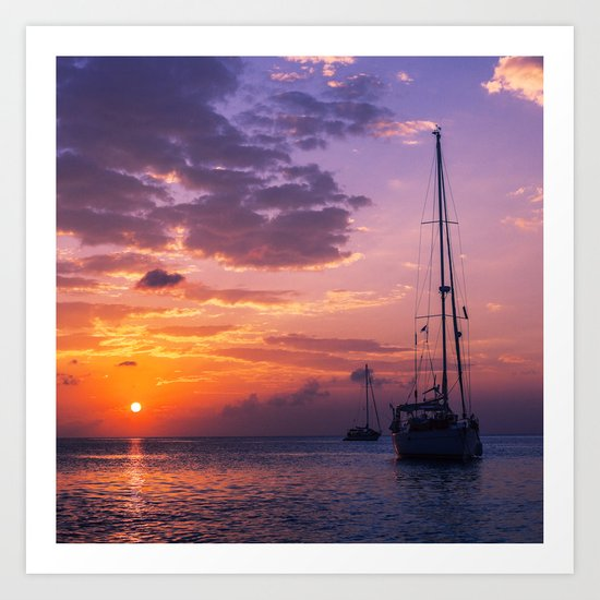 Sailboats at sunset in Roatan Art Print