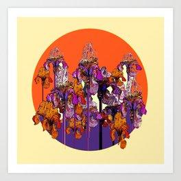 "modern art "" PURPLE & CREAM "" ORANGE IRIS GARDEN Art Print"