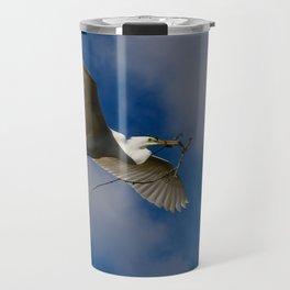 Egret In Flight With Branch Travel Mug